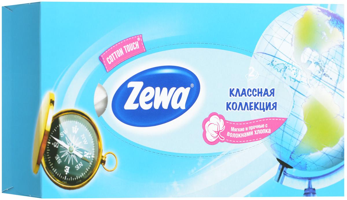 Zewa Платки косметические в коробке Everyday, двухслойные, цвет: голубой, компас, глобус, 100 шт140814757_голубой, компас, глобус