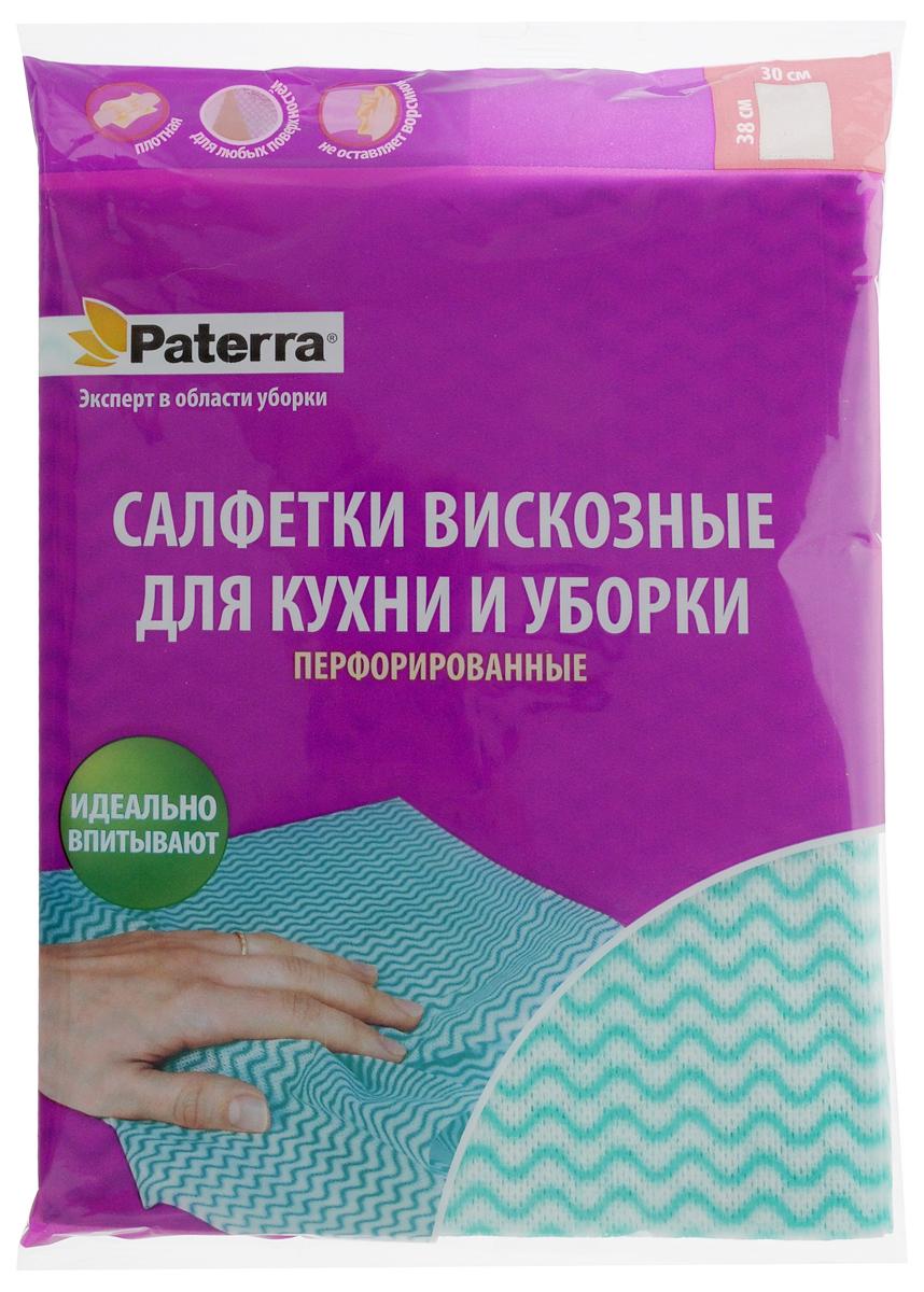 Набор салфеток Paterra, перфорированные, цвет: аквамарин, белый, 38 х 30 см, 5 шт406-075Салфетки Paterra выполнены из высококачественной вискозы и полиэстера. Незаменимы на кухне и во время уборки. Подходят для разных поверхностей. Отлично впитывают влагу. Можно использовать как в сухом, так и во влажном состоянии. Салфетки гладкие, поэтому не оставляют ворсинок на поверхности.Количество: 5 шт.