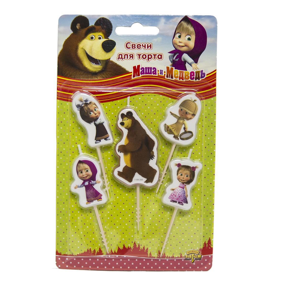 Маша и Медведь Свечи для торта на пиках 5 шт маша и медведь резинка для волос пружинки в цветовом дизайне 5 шт