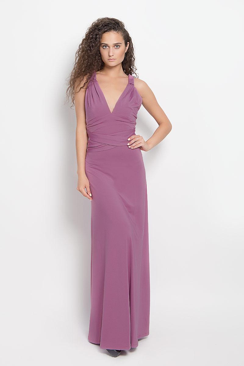 Платье Ruxara, цвет: сиренево-розовый. 103200_66. Размер 42103200_66Стильное платье-макси Ruxara, выполненное из высококачественного комбинированного материала, поможет создать отличный современный образ.Модель-трансформер с глубоким V-образным вырезом горловины дополнена широкими длинными лентами, которые можно завязать различными способами. Такое платье поможет создать яркий и привлекательный образ, в нем вам будет удобно и комфортно.