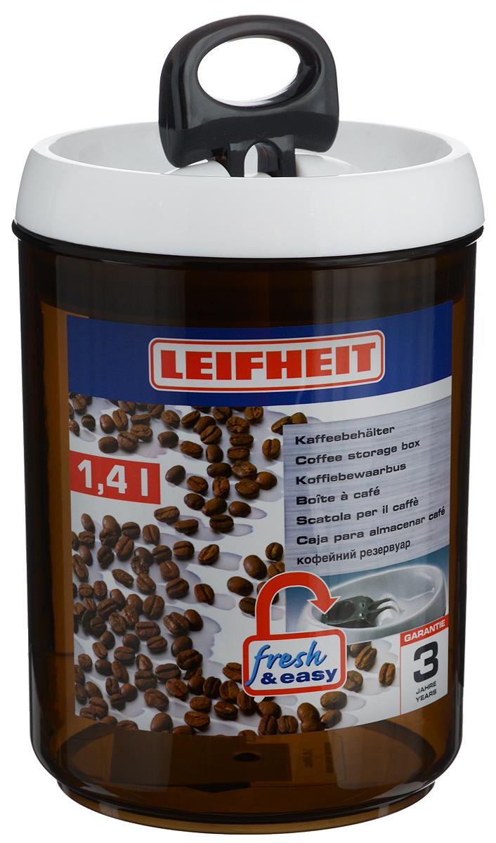 Контейнер для хранения кофейных зерен Leifheit Fresh&Easy, 1,4 л31205Контейнер Leifheit Fresh&Easy, изготовленный из прочного пластика, предназначен для хранения кофейных зерен. Затемненная поверхность препятствует попаданию прямых солнечных лучей.Диаметр (по верхнему краю): 12,5 см.Высота (без учета крышки): 15,7 см.