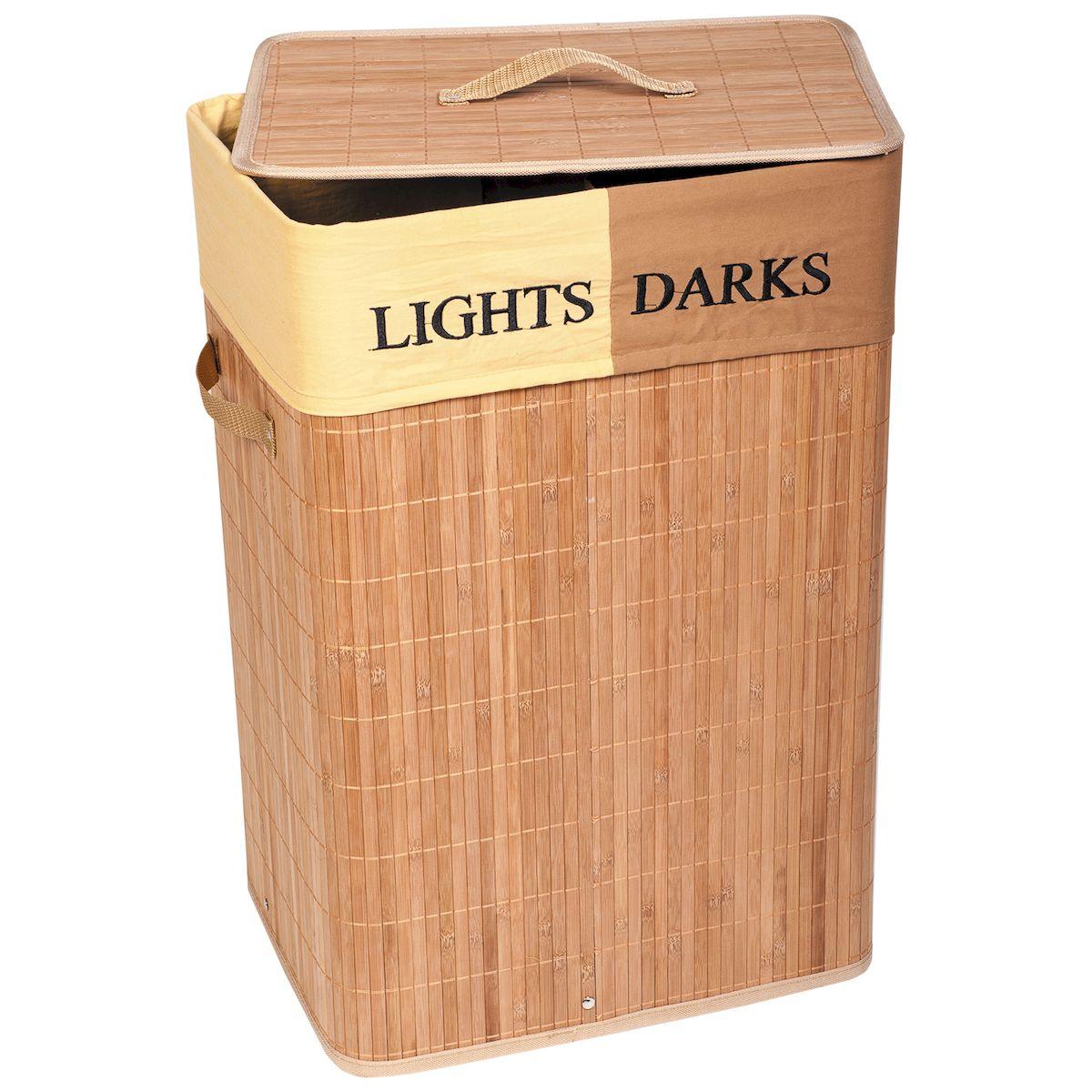 Корзина для белья Tatkraft DAKOTA, со съемным чехлом, с двумя отделениями, 72 л15272Корзина для белья Tatkraft DAKOTA - большая бамбуковая корзина для белья со съемным текстильным чехлом с отделениями для темного и светлого 72 л.Натуральный бамбук походит для помещений с высокой влажностью, обладает дезодорирующими и антисептическими свойствами, Съемный чехол легко мытьУдобная крышка с ручкой, боковые ручки, цвета натурального дерева впишутся в любой интерьер.