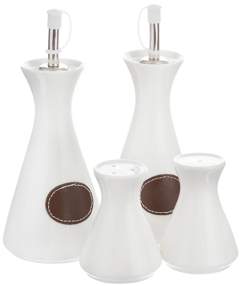 Набор емкостей для специй EcoWoo, 4 предмета2012236UНабор для современной кухни EcoWoo - это не толькоидеальный подарок, но и прекрасный повод побаловатьсебя! В набор входят 2 емкости для масла/уксуса, солонка иперечница. Изделия выполнены из высококачественногофарфора.Такой набор оценят ценители единого современногостиля. Востребованное сочетание цветов выполнено влучших европейских традициях.Не использовать в посудомоечной машине. Объем емкостей для масла/уксуса: 300 мл.Высота емкостей для масла/уксуса (без учета крышки): 15 см.Диаметр основания емкостей для масла/уксуса: 7,5 см. Объем солонки/перечницы: 50 мл.Высота солонки/перечница: 8,5 см. Диаметр основания солонки/перечница: 5,5 см.