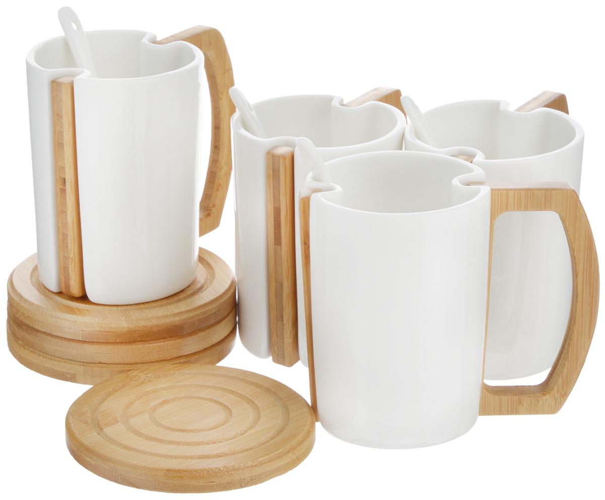 Набор чайный EcoWoo, 8 предметов. 2012248U2012248UНабор чайный EcoWoo - это не только идеальный подарок, но и прекрасный повод побаловать себя! Набор состоит из 4 фарфоровых кружек со съемными ручками и 4 бамбуковых подставок.Такой набор станет идеальным решением для ценителей экологичных деталей в интерьере и поклонников здорового образа жизни.Не использовать в посудомоечной машине.Объем кружки: 280 мл.Диаметр кружки (по верхнему краю): 7,5 см.Высота кружки: 10 см.Диаметр подставки: 10 см.