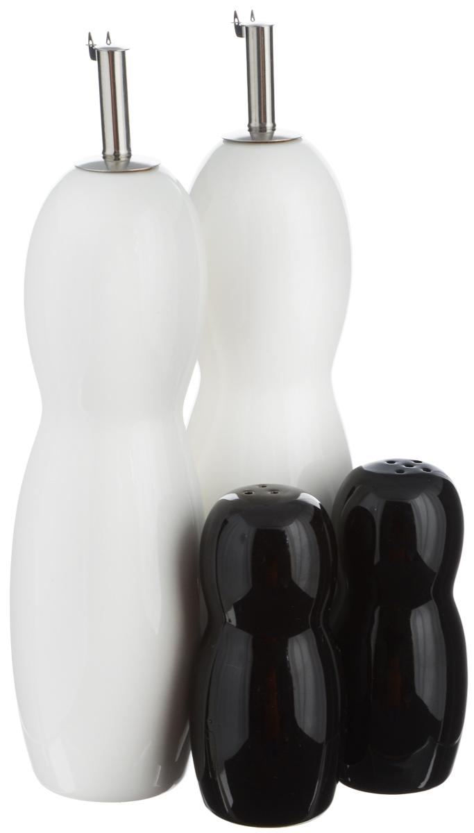 Набор емкостей для специй EcoWoo, цвет: белый, черный, 4 предмета. 2012237U набор для масла и уксуса else augusta 3 предмета
