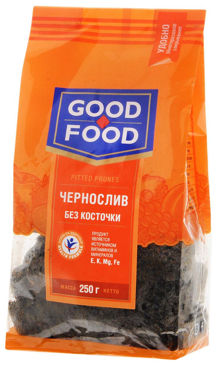 Good Food черносливсушеный без косточки,250г4620000675778Чернослив является самым популярным и потребляемым из всех известных нам сухофруктов. Пользу организму чернослив оказывает благодаря содержащимся в его составе пектиновым веществам, растительной клетчатке, органическим кислотам, сахару. Сухофрукт богат витаминами В1, В2, С, РР, провитамином А, содержит калий, натрий, магний, фосфор, железо. Улучшает работу желудка и кишечника. Придает коже гладкость и эластичность и предотвращает появление преждевременных морщин.