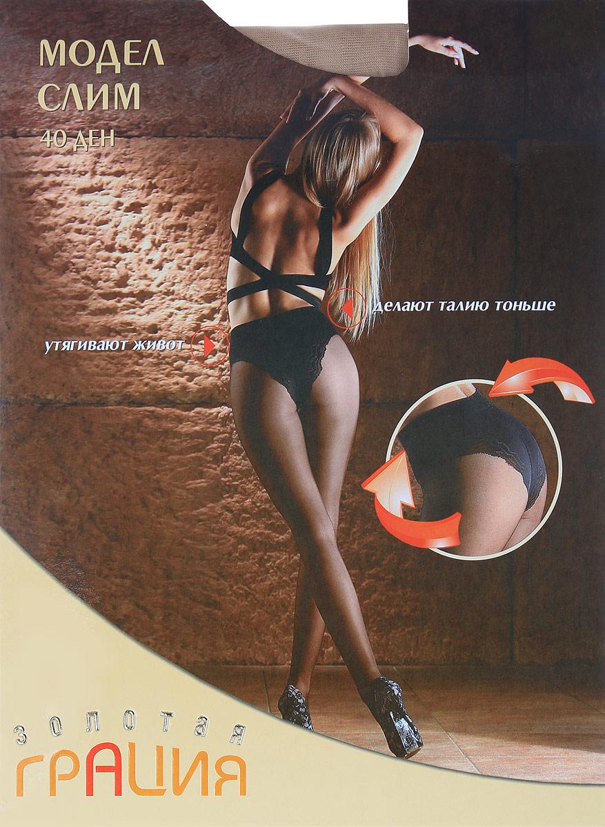 Колготки женские Золотая Грация Модел Слим 40, цвет: телесный. Размер 4 (46) колготки грация марина 40 цвет черные размер 4