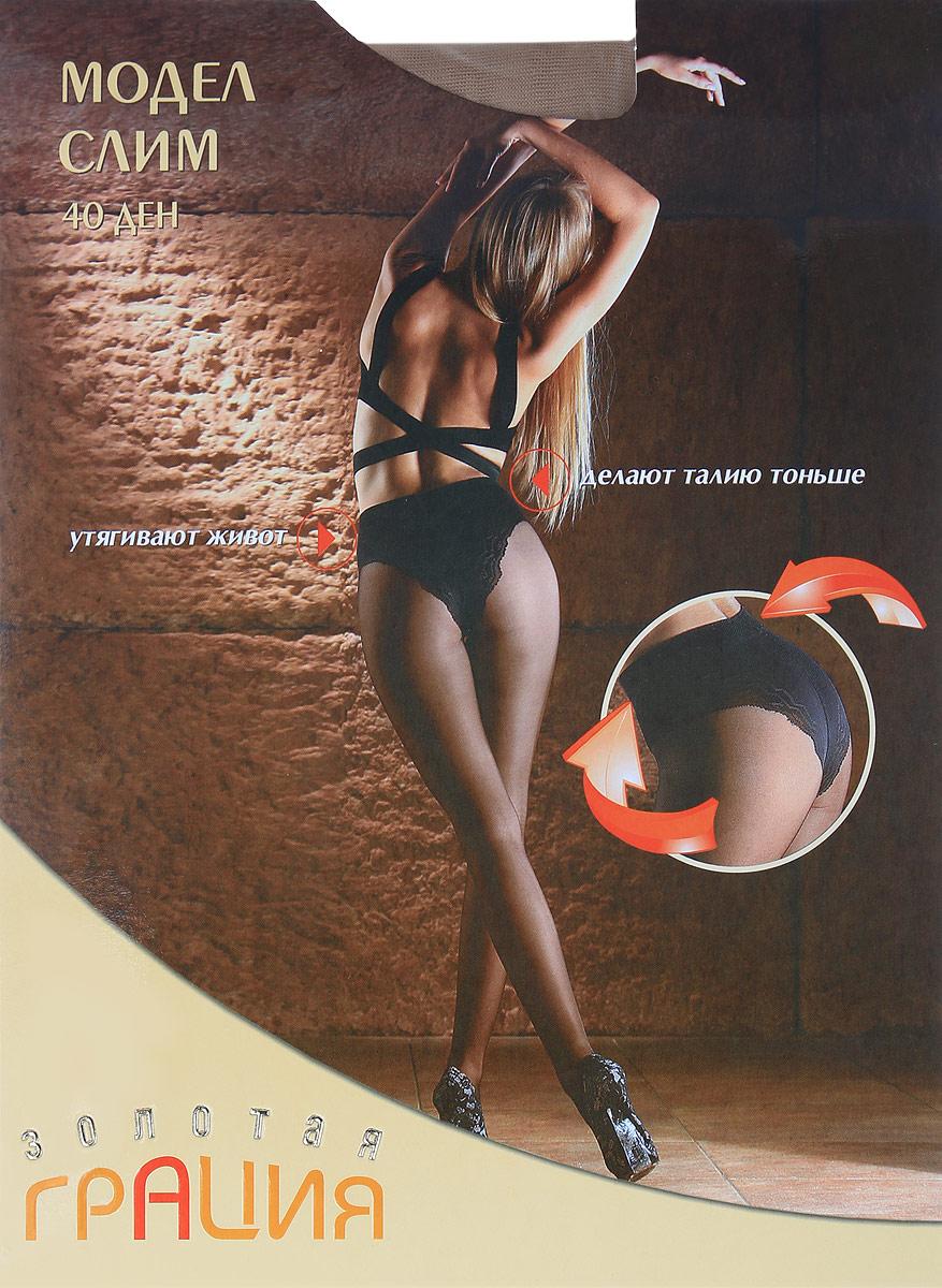 Колготки женские Золотая Грация Модел Слим 40, цвет: загар. Размер 4 (46) колготки грация марина 40 цвет черные размер 4