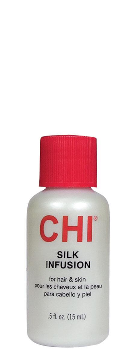 CHI Гель восстанавливающий Шелковая инфузия 15 млCHI0301Насыщенное средство, не требующее смывания. Обогащено протеинами сои и пшеницы. Проникает в волос, укрепляет его. Натуральный шелк - сходен по составу натурального волоса и содержит 17 из 19 аминокислот, формирующих волос. Продукт делает волосы невероятно мягкими, послушными и блестящими, не перегружая их.