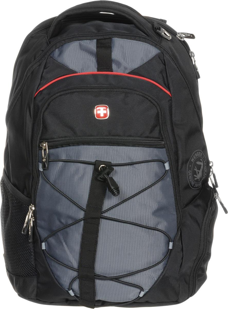 Рюкзак городской Wenger, цвет: черный, серый, 34 x 19 x 46 см, 30 л6772204408Высококачественный и стильный, надежный и удобный, а главное прочный рюкзак Wenger. Благодаря многофункциональности данный рюкзак позволяет удобно и легко укладывать свои вещи.Особенности рюкзака:1 внешний боковой карман на молнии с вентиляцией.1 внешний сетчатый карман для бутылки с водой. 2 внешних кармана на молнии. Большое основное отделение.Внешнее металлическое кольцо. Внешний стягивающий резиновый шнур. Внутренний карабин для ключей. Внутренний сетчатый карман на молнии для хранения аксессуаров ноутбука. Карман для планшетного компьютера с диагональю до 38 см. Карман-органайзер для мелких предметов. Малое дополнительное отделение. Металлические застежки молний с пластиковыми вставками. Мягкая ручка для переноски. Отделение для 15 ноутбука на липучке. Петля для очков. Регулируемые плечевые ремни. Эргономичная спинка с системой циркуляции воздуха Airflow.