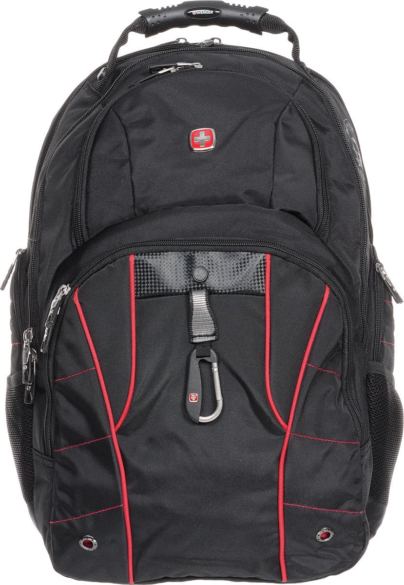 Рюкзак городской Wenger, цвет: черный, красный, 34 х 18 х 47 см, 29 л6939201408Высококачественный и стильный, надежный и удобный, а главное прочный рюкзак Wenger. Благодаря многофункциональности данный рюкзак позволяет удобно и легко укладывать свои вещи.Особенности рюкзака:2 внешних боковых кармана на молнии с вентиляцией. 2 внешних кармана на молнии. 2 внешних сетчатых кармана для бутылок с водой. Большое основное отделение. Внешний карабин. Внутренний карабин для ключей. Возможность крепления на чемодане. Вставка из искусственной кожи. Отделение для 17 ноутбука с системой ScanSmart. Карман с мягкими стенками для планшетного компьютера шириной 18 см. Карман-органайзер для мелких предметов. Металлические застежки молний с пластиковыми вставками. Петля для очков. Регулируемые плечевые ремни. Ручка с прочным кожухом для переноски. Внутренний сетчатый карман на молнии для хранения аксессуаров ноутбука. Эргономичная спинка с системой циркуляции воздуха Airflow.