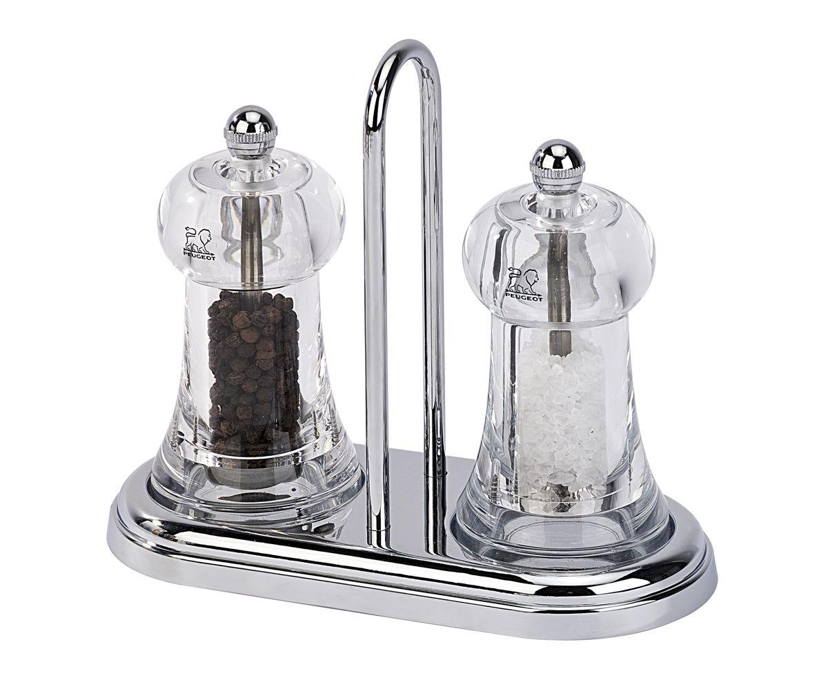 Набор мельниц для соли и перца Peugeot Brasserie Set, цвет: прозрачный, высота 15 см подставка для мельниц peugeot linea