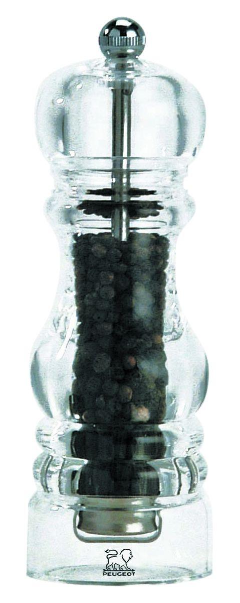 """Мельница для перца Peugeot """"Nancy"""" - отличное приспособление для приготовления блюд со свежемолотым перцем. Выполнена из акрила и нержавеющей стали.  Уникальным изобретением компании является надежный измельчающий механизм, выполненный из особой износостойкой стали. Изделие оснащено двойным рядом винтообразных зубцов для захвата горошин и подачи их к основанию, а затем удержания их до безупречного помола. При помощи системы регулировки возможно плавное изменение степени помола - от крупного, грубого до мелкой пудры.  Зубцы имеют специальное антикоррозионное покрытие. Система защиты механизмов IMP - запатентованное покрытие, которое позволяет идеально сочетаться механическим свойствам и коррозионной устойчивости. В результате нанесения 4 слоев паров металлов в вакууме изделие долго сохраняет внешний вид и остроту каждого зубца механизма.  Благодаря своей надежности и стильному дизайну эта мельница одинаково хорошо подходит как для кафе и ресторанов, так и для обычной кухни в городской квартире или загородном доме."""