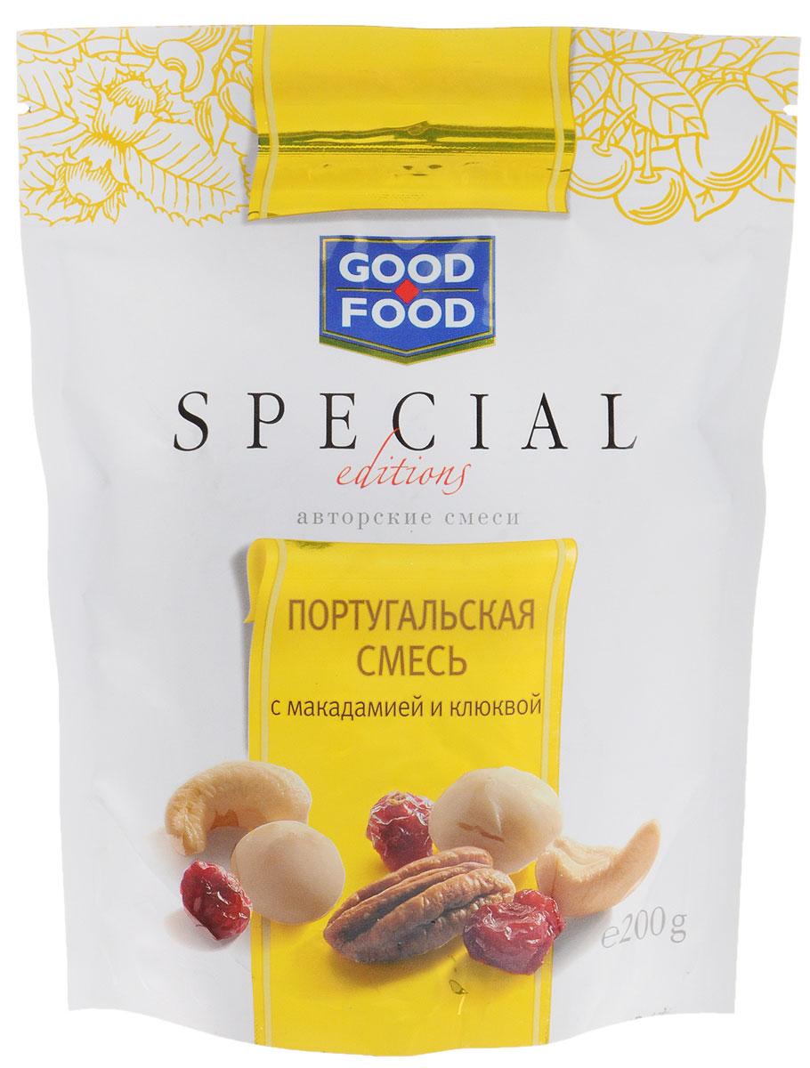 Good Food Special португальскаясмесьсмакадамией и клюквой,200г4620000673446Португальская смесь с макадамией и клюквой - изысканный микс из кешью, клюквы, благородных орехов макадамия и пекан. Авторские смеси Good Food Special - это новый взгляд на орехово-фруктовые смеси как на самостоятельные десертные блюда.