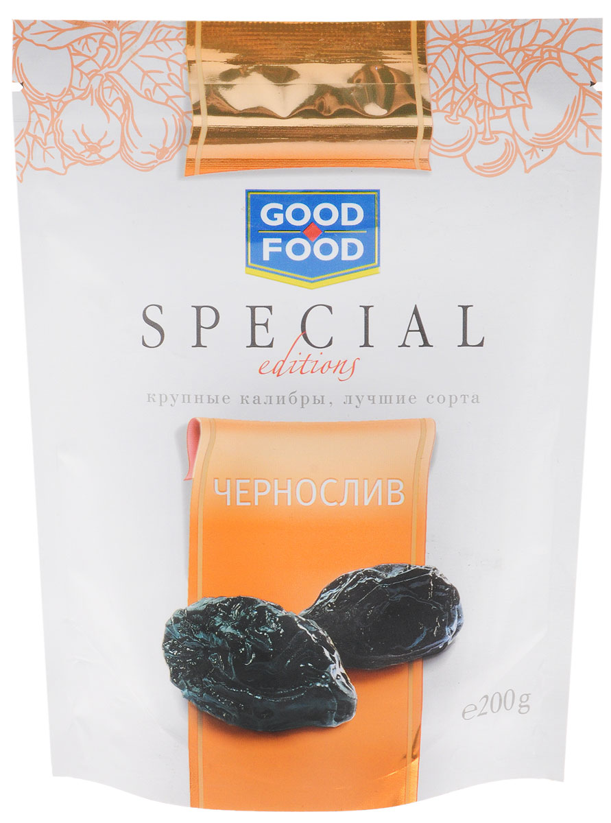 Good Food Specialчернослив,200г4620000671954Чернослив является самым популярным и потребляемым из всех известных нам сухофруктов. Пользу организму чернослив оказывает благодаря содержащимся в его составе пектиновым веществам, растительной клетчатке, органическим кислотам, сахару. Сухофрукт богат витаминами В1, В2, С, РР, провитамином А, содержит калий, натрий, магний, фосфор, железо.