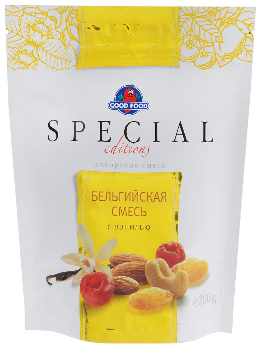 Good Food Specialбельгийскаясмесьсванилью,200г4620000673439Бельгийская смесь с ванилью - это коктейль из миндаля в ванили, солнечного изюма, кешью и ароматной вишни в сахарной пудре. Неповторимый вкус произведет впечатление на любого гурмана.