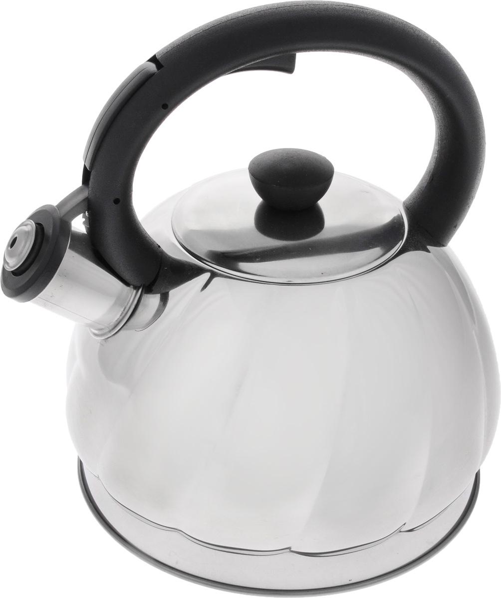 Чайник Mayer & Boch, со свистком, 2 л. 2589525895Чайник Mayer & Boch изготовлен из высококачественной нержавеющей стали, что обеспечивает долговечность использования. Носик чайника оснащен откидным свистком, звуковой сигнал которого подскажет, когда закипит вода. Свисток открывается нажатием кнопки на ручке, сделанной из пластика. Чайник Mayer & Boch - качественное исполнение и стильное решение для вашей кухни. Подходит для всех типов плит, включая индукционные. Можно мыть в посудомоечной машине. Высота чайника (с учетом ручки и крышки): 22,5 см.Высота чайника (без учета ручки и крышки): 12 см.Диаметр чайника (по верхнему краю): 9 см.