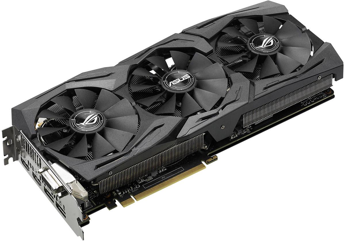 ASUS Strix GeForce GTX 1070 O8G Gaming 8GB видеокартаSTRIX-GTX1070-O8G-GAMINGВидеокарта ROG Strix GTX 1070 - это геймерская модель высшего класса, оснащенная множеством эксклюзивных технологий ASUS. Используемая на ней система охлаждения DirectCU III может похвастать высокой эффективностью за счет вентиляторов с оптимизированной геометрией крыльчатки, а безупречная надежность устройства обеспечивается полностью автоматизированным процессом производства (технология Auto-Extreme). Система подсветки Aura RGB поможет сделать дизайн компьютера незабываемым с помощью оригинальных световых эффектов, в то время как совместимые с VR-устройствами порты HDMI подарят геймерам возможность окунуться в захватывающий мир виртуальной реальности. В комплект поставки ROG Strix GTX 1070 входят утилиты GPU Tweak II (для настройки и мониторинга параметров видеокарты) и XSplit Gamecaster (для записи и трансляции процесса игры в режиме реального времени).Флагманский графический процессор NVIDIA GeForce GTX 1070 создан на базе самой технически совершенной архитектурой графических процессоров NVIDIA Pascal. Он обеспечивает революционную производительность, инновационные технологии и захватывающие VR-возможности нового поколения.Архитектура Pascal удовлетворяет требованиям дисплеев нового поколения, включая VR-дисплеи и дисплеи ультравысокого разрешения, и поддерживает подключение нескольких мониторов. Она совместима с комплексом технологий NVIDIA GameWorks, которые обеспечивают плавный игровой процесс и высокую реалистичность. Кроме того, она поддерживает революционную технологию записи изображения с охватом в 360 градусов.На данную видеокарту установлена эксклюзивная система охлаждения DirectCU III с технологией прямого контакта: медные тепловые трубки кулера непосредственно контактируют с поверхностью графического процессора.Три высококачественных вентилятора с оптимизированной геометрией крыльчатки, входящие в состав системы охлаждения DirectCU III, усиливают воздушный поток и увеличивают