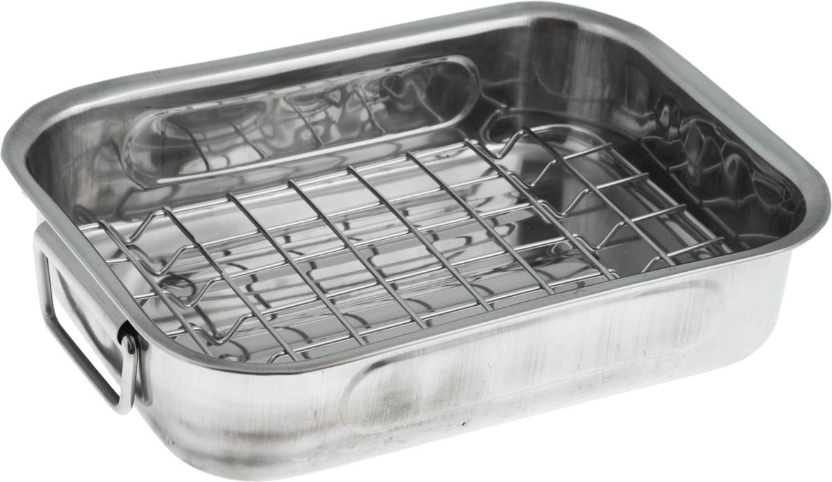 """Лоток """"SSW"""" с сеткой для гриля позволяет получить жареное мясо или другие продукты с  золотистой корочкой и без лишнего жира. Изделие выполнено из высококачественной  нержавеющей стали. По бокам расположены складные ручки для удобной эксплуатации. Подходит для использования в духовке. Можно мыть в посудомоечной машине. Внешний размер: 25 х 20 см. Внутренний размер: 25 х 18 см. Высота стенки: 6 см."""