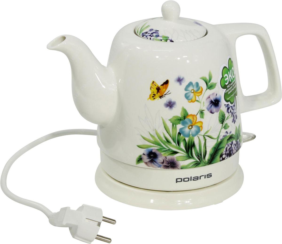 Polaris PWK 1299CCR Весна электрический чайникPWK 1299CCR_белыйPolaris PWK 1299CCR Весна - это керамический электрочайник с ярким дизайном. Корпус чайника декорирован эмалевой росписью с рисунком. Такой необычный подарок станет центром посиделок в кругу семьи.Корпус чайника выполнен из экологически чистой керамики, которая сохраняет полезные и вкусовые качества воды. Благодаря природным свойствам керамики кипяток дольше остается горячим.Данная модель оснащена встроенным скрытым нагревательным элементом. Это снижает образование накипи и упрощает очистку, продлевая тем самым срок службы чайника. Новинка оснащена автоматическим и ручнымвыключателем, индикаторной лампочкой и отсеком для хранения шнура. Прибор вращается на круглой подставке - базе на 360 градусов, поэтому вы без труда сможете повернуть его в любую сторону.