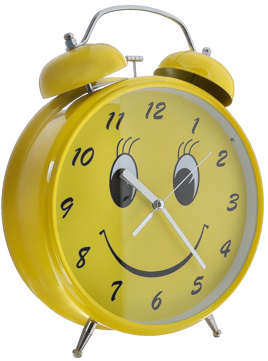 """Часы-будильник Эврика """"Гигант. Смайл"""", цвет: желтый, стальной, белый"""