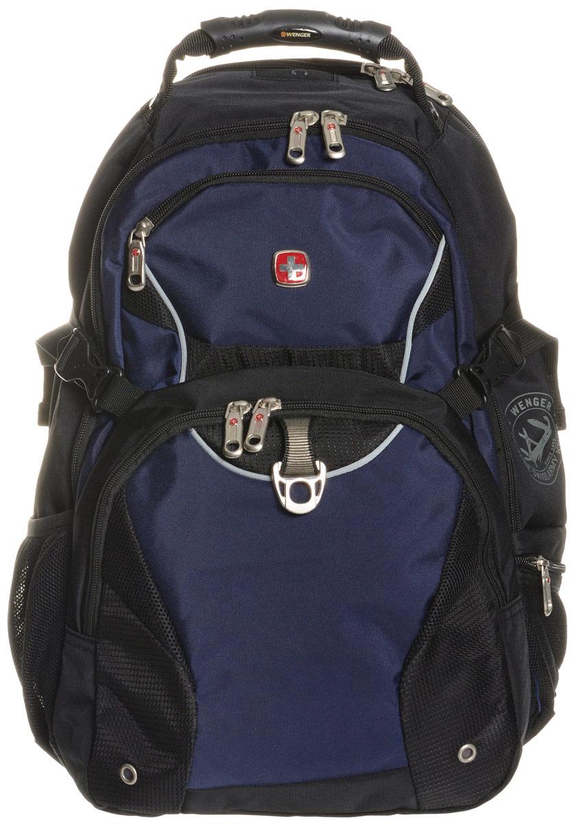 Рюкзак Wenger, цвет: черный, синий, 36 х 19 х 47 см, 32 л3263203410Рюкзак Wenger - это самодостаточный, многофункциональный и надежный спутник своего владельца, как и знаменитый швейцарский нож! Благодаря многофункциональности рюкзака Wenger, вы можете легко организовать свои вещи, отправив ключи, мобильный телефон и еще тысячу мелочей в специальный карман-органайзер, положив ноутбук в надежный мягкий карман под спинкой. После этого останется еще много места для других необходимых вещей. Рюкзаки и сумки Wenger - это прежде всего современные материалы и фурнитура от надежных поставщиков и швейцарский контроль качества, благодаря которому репутация компании была и остается столь высокой. Продуманная конструкция и современные технологии проявляются главным образом в потрясающей надежности рюкзаков и сумок Wenger. А ведь надежность - самое важное качество и в амуниции, и в людях!Особенности рюкзака: Мягкое отделение для ноутбука: регулируемый ремень на липучке подходит для большинства ноутбуков с диагональю 15 дюймов, карманы из эластичной сетки предназначены для аксессуаров.Мягкое отделение для планшета: встроенное отделение для планшета обеспечивает удобную и безопасную транспортировку.Отделение для аудио: внутренний карман для МР3 плеера и внешний выход для наушников.Карман для мелких предметов: кольцо для ключей и многочисленные отдельные карманы для ручек, мобильного телефона,документов и флеш-карты.Карман для бутылки воды: карман из эластичной сетки удобен для хранения бутылок любого размера.Плечевые ремни: эргономичные плечевые ремни анатомической формы специально разработаны с дополнительной набивной подкладкой для удобства и контроля.Система циркуляции воздуха: дизайн задней мягкой вставки для спины обеспечивает циркуляцию воздуха и максимальное удобство и поддержку для спины.Петля для очков: петля на плечевом ремне обеспечивает легкий доступ к очкам. По всем вопросам гарантийного и постгарантийного обслуживания рюкзаков, чемоданов, спортивных и кожаных сумок, 