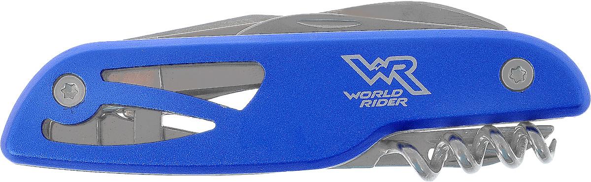 Нож перочинный многофункциональный World Rider, цвет: синий, стальной. WR 5007WR 5007_синийКомпактный перочинный нож World Rider - стильный аксессуар, в одном корпусе содержащий самые необходимые инструменты на даче, пикнике и в быту: большое и малое лезвия, ножницы, открывалку для бутылок, шлицевую отвертку, штопор и шило. Предметы выполнены из высококачественной полированной стали. Рукоятка ножа имеет анодированное покрытие, обладающее грязе- и водоотталкивающими свойствами, что облегчает уход за изделием.Длина в сложенном виде: 10 см.Длина в разложенном виде: 19,5 см.Длина большого лезвия: 5,8 см.Длина малого лезвия: 3,8 см.