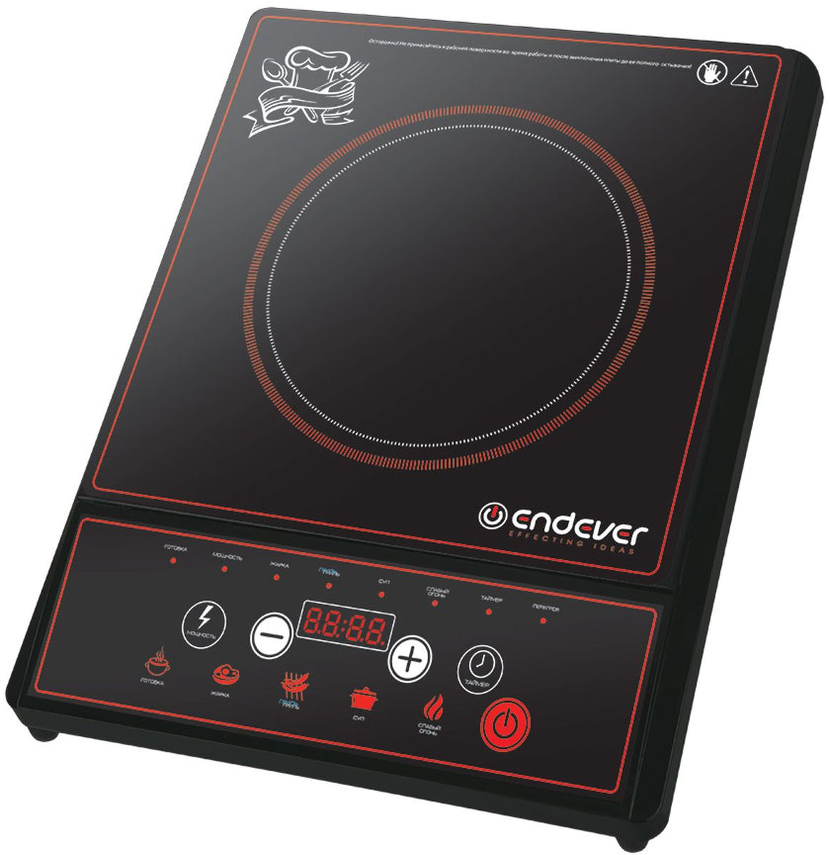 Endever SkyLine DP-40 настольная плитаDP 40Компактная электрическая плитка Endever SkyLine DP-40 отлично подойдет для дачи или офиса.Панель управления оснащена LED-дисплеем и набором клавиш, с помощью которых можно легко выставить необходимый режим работы, задать время и температуру приготовления. В памяти плиты заложено 5 стандартных режимов нагрева.Данная модель защищена от скачков напряжения и перегрева. А идеально гладкая поверхность позволит легко отчистить ее от брызг и прочих загрязнений.Таймер включения с интервалом до 24 часов LED - дисплейРазмер варочной панели: 26 x 26 смПрограммы: готовка, жарка, гриль, суп, слабый огонь