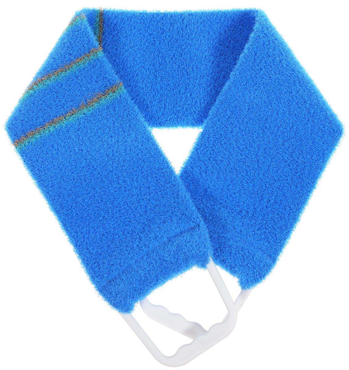 Мочалка-пояс массажная Riffi, жесткая, цвет: синий, 80 х 11 см riffi мочалка рукавица массажная двухсторонняя цвет синий бирюзовый 407
