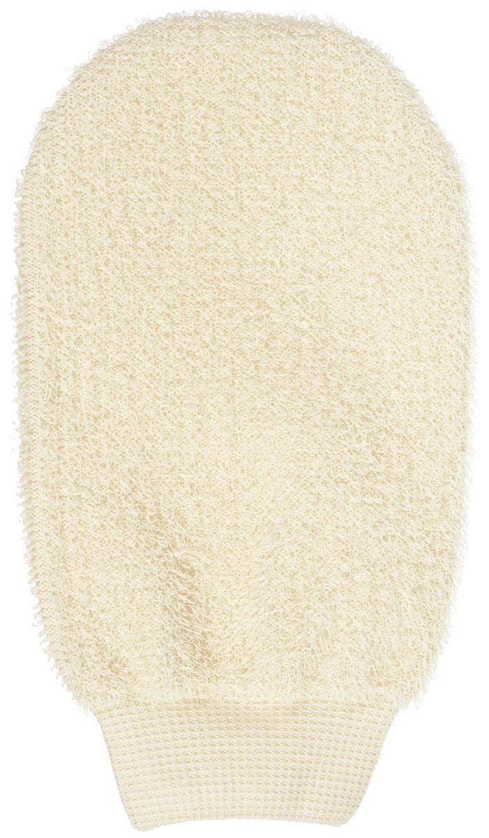 Riffi Мочалка-рукавица, массажная, двухсторонняя, цвет: бежевый мочалка рукавица riffi жесткая цвет коралловый