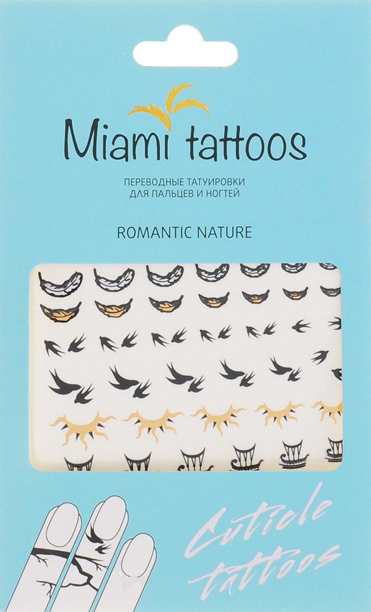 Miami Tattoos Флэш тату для пальцев и ногтей Miami Tattoos Romantic Nature 1 лист 10 см х 15 смMT0007Miami Tattoos - это дизайнерские переводные тату-украшения. Оригинальные тату для кутикул - это ультрамодное дополнение к вашему маникюру! Они не только эффектно смотрятся, но еще и визуально вытягивают ногти, делая их болееизящными. Для производства Miami Tattoos используются только качественные,?яркие?и?стойкие?краски. Они?не вызывают аллергию идержатся?до семи?дней!