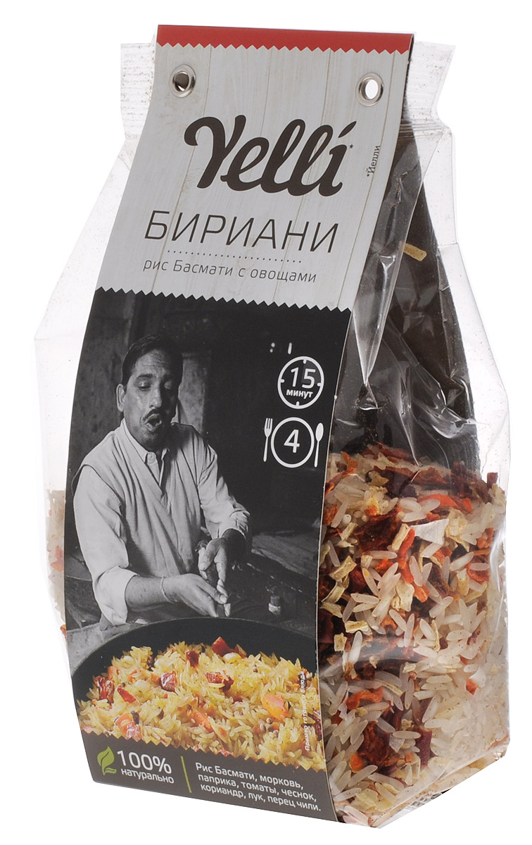 Yelli Бириани рис басмати с овощами, 250 г ufeelgood rice organic brown basmati коричневый органический рис басмати 300 г
