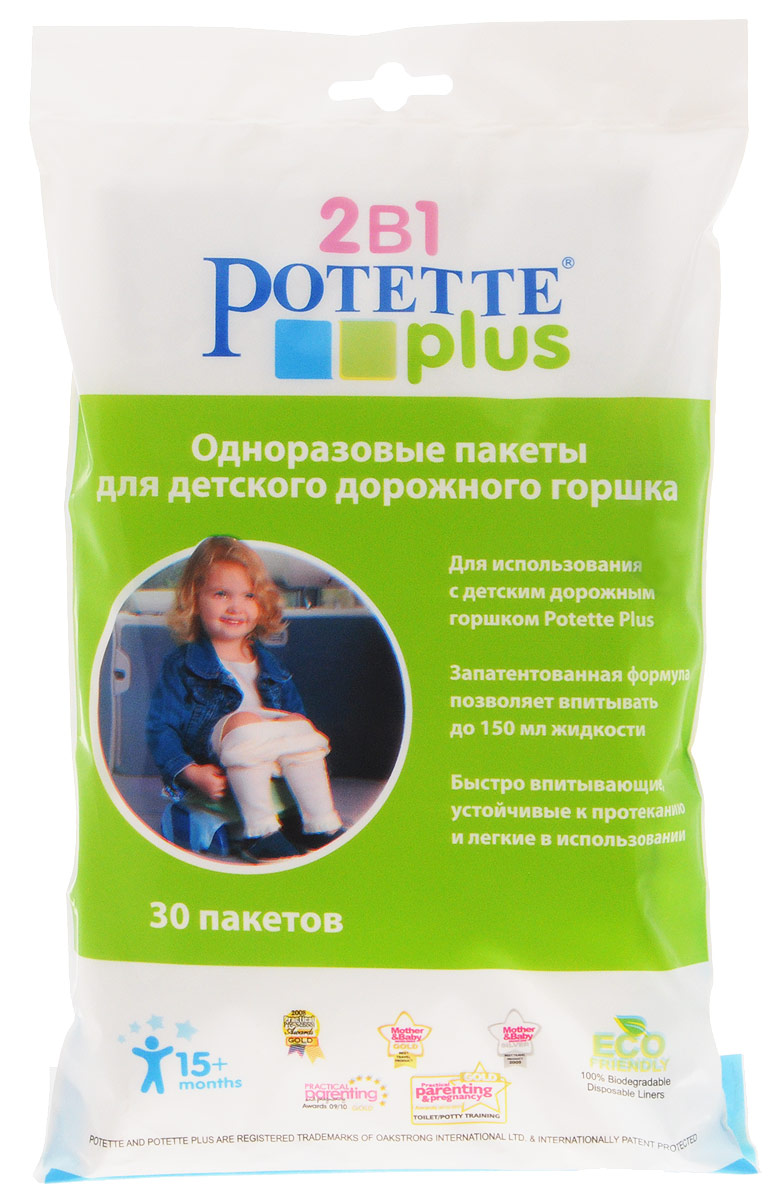 Одноразовые био-пакеты для детского дорожного горшка  Potette Plus , 30 шт -  Горшки и адаптеры для унитаза