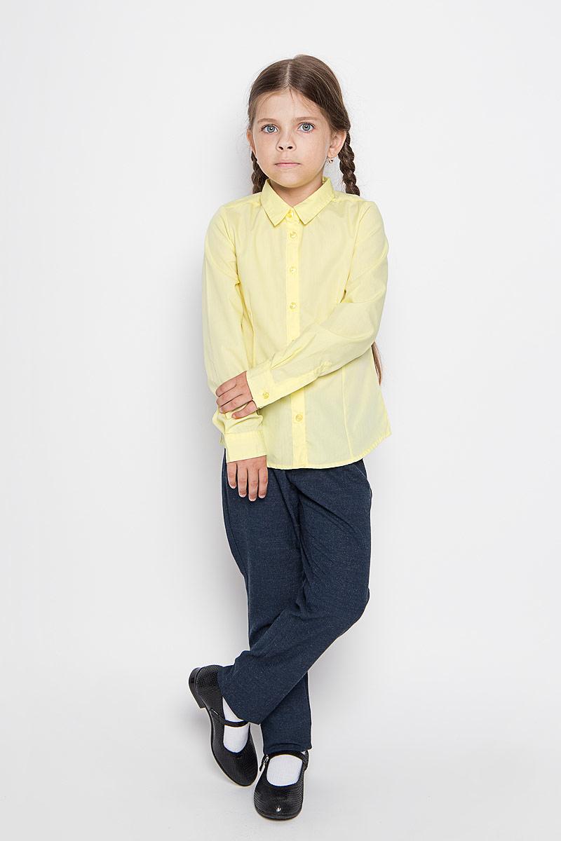 Рубашка для девочки Sela, цвет: желтый. B-612/015-6311. Размер 116, 6 лет  рубашка для девочки sela цвет темно синий белый b 612 845 7151 размер 146 11 лет