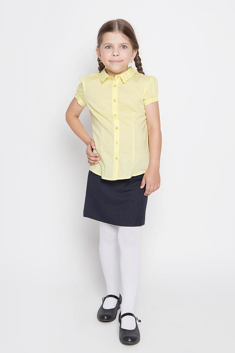 Блузка для девочки Sela, цвет: желтый. Bs-612/842-6311. Размер 122, 7 летBs-612/842-6311Стильная блузка для девочки Sela идеально подойдет вашей дочурке. Изготовленная из эластичного хлопка с добавлением нейлона, она мягкая и приятная на ощупь, не сковывает движения и позволяет коже дышать, обеспечивая наибольший комфорт.Блузка с короткими рукавами-фонариками и отложным воротничком застегивается на пластиковые пуговицы по всей длине. Рукава дополнены эластичными резинками.Современный дизайн и расцветка делают эту блузку стильным предметом детского гардероба. Модель можно носить как с джинсами, так и с классическими брюками.