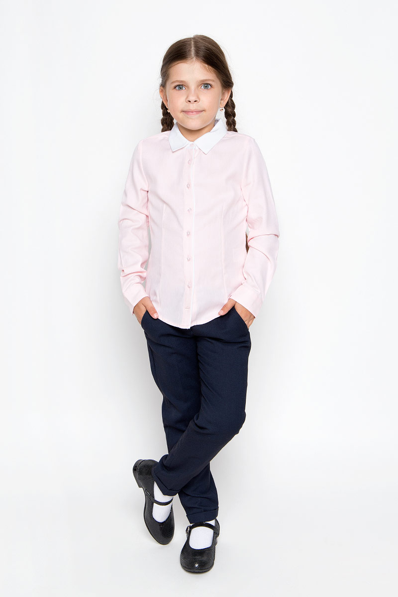 Рубашка для девочки Sela, цвет: розовый. B-612/013-6311. Размер 116, 6 летB-612/013-6311Стильная приталенная рубашка для девочки Sela идеально подойдет вашей дочурке. Изготовленная из натурального высококачественного хлопка, она мягкая и приятная на ощупь, не сковывает движения и позволяет коже дышать, обеспечивая наибольший комфорт. Рубашка с длинными рукавами и отложным воротничком застегивается на пластиковые пуговицы по всей длине, рукава также дополнены манжетами на пуговицах. Изделие оформлено принтом в микрополоску.Современный дизайн и расцветка делают эту рубашку стильным предметом детского гардероба. Модель можно носить как с джинсами, так и с классическими брюками.