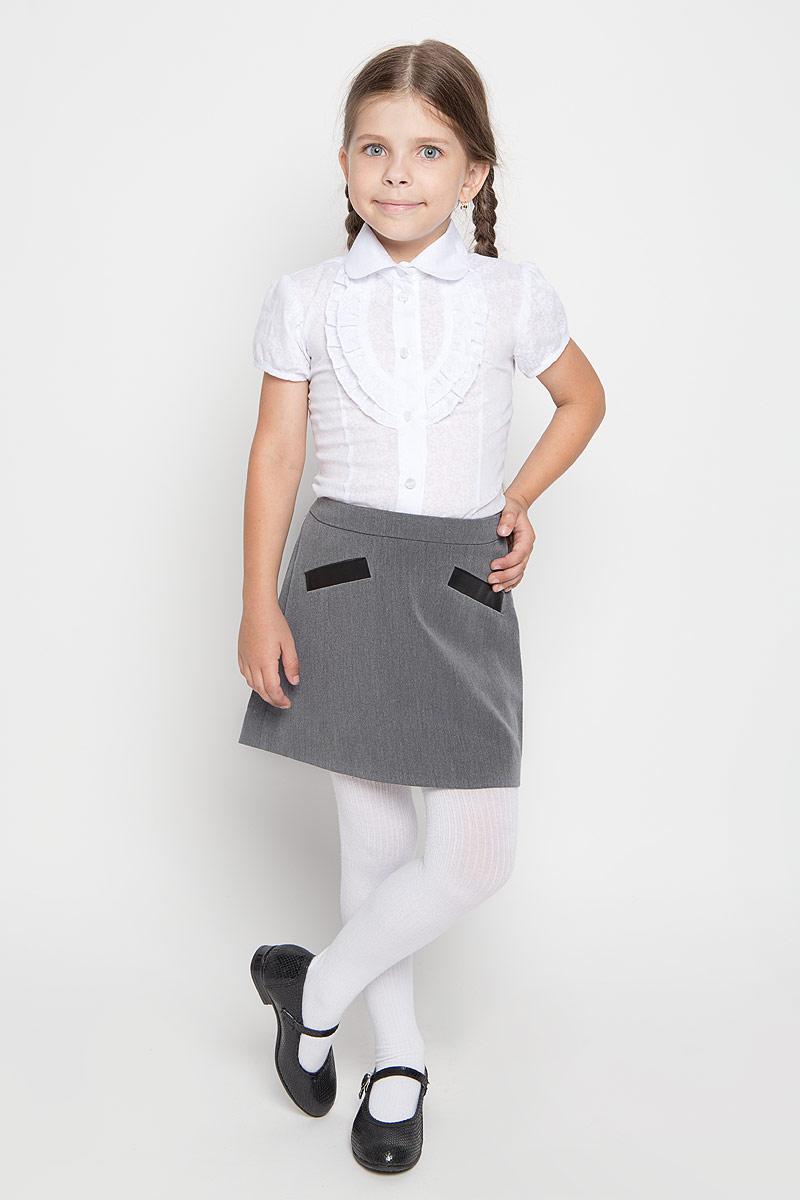 Юбка для девочки Orby School, цвет: серый. 64124_OLG, вариант 1. Размер 122, 7-8 лет64124_OLG,вариант 1Юбка для девочки Orby School идеально подойдет вашей моднице и станет отличным дополнением к ее школьному гардеробу. Изготовленная из высококачественного комбинированного материала, она мягкая и приятная на ощупь, не сковывает движения, не раздражает нежную кожу ребенка, обеспечивая наибольший комфорт. Модель-миди застегивается на потайную застежку-молнию сбоку. С внутренней стороны пояс регулируется эластичной резинкой с пуговицами. Спереди изделие оформлено имитацией втачных карманов.В такой модной юбке ваша дочурка будет чувствовать себя комфортно, уютно и всегда будет в центре внимания!