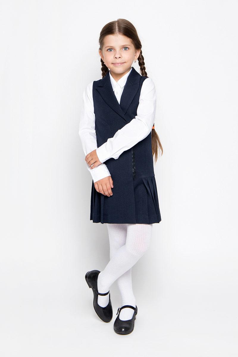 Сарафан для девочки Orby School, цвет: темно-синий. 64126_OLG, вариант 2. Размер 152, 10-11 лет рубашка для мальчика orby school цвет белый 64190 olb вариант 1 размер 152 10 11 лет