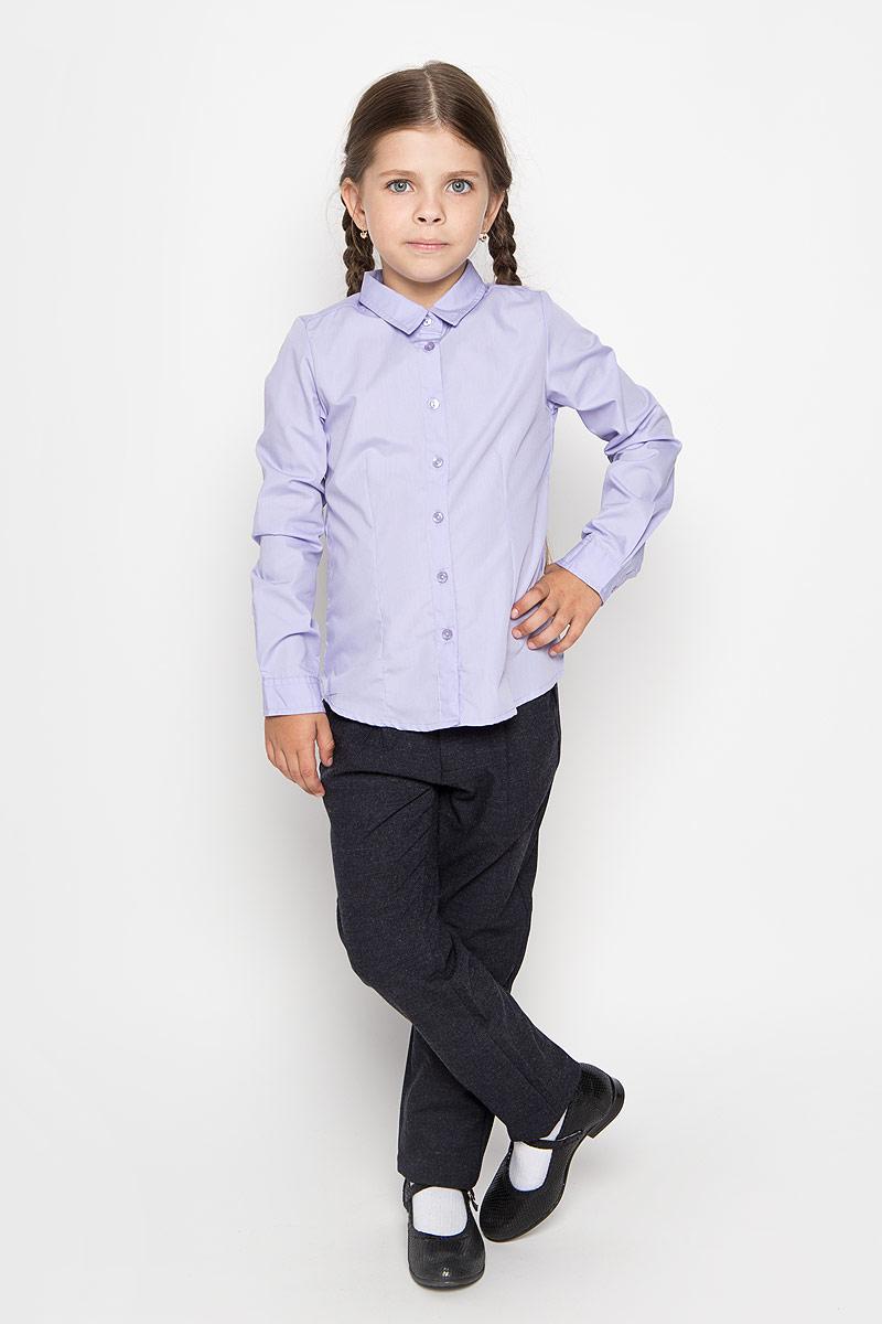 Рубашка для девочки Sela, цвет: сиреневый. B-612/015-6311. Размер 116, 6 лет  рубашка для девочки sela цвет темно синий белый b 612 845 7151 размер 146 11 лет