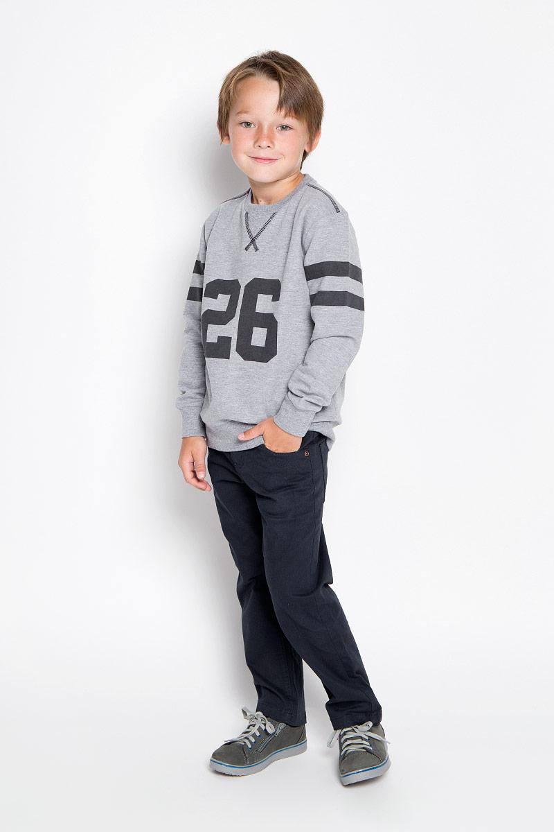 Свитшот для мальчика Sela, цвет: серый. St-813/157-6322. Размер 122, 7 лет