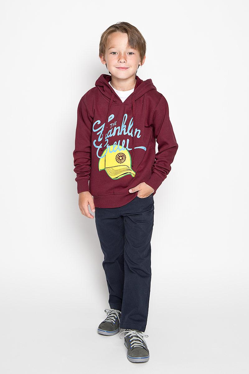 Толстовка для мальчика Karff, цвет: бордовый. 46028-03. Размер 146, 11-13 лет пуловер мужской karff цвет синий бордовый черный 88004 01 размер xxl 56
