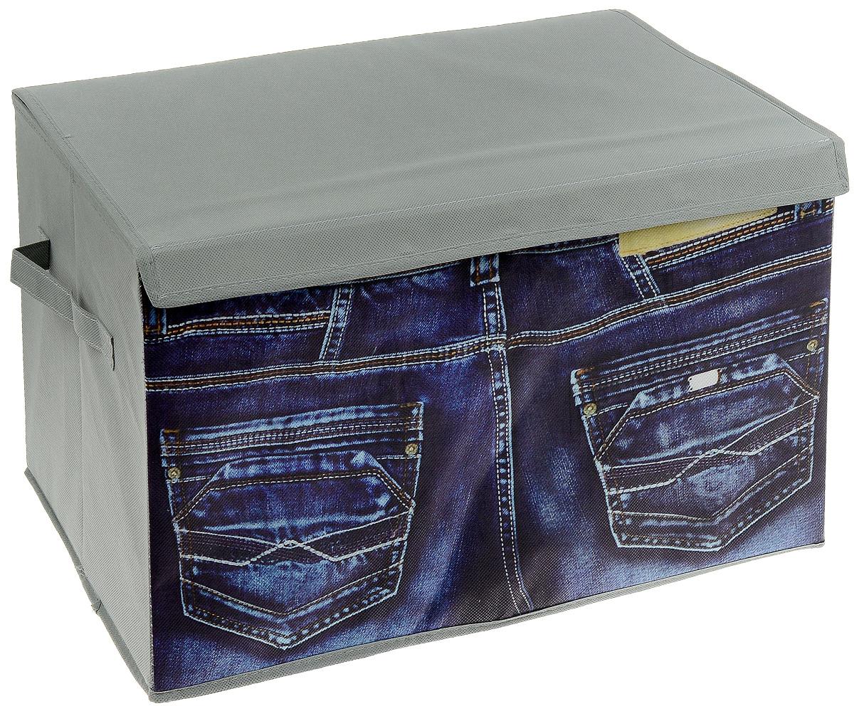 """Кофр для хранения """"Джинсы"""" изготовлен из высококачественного нетканого полотна, декорированного изображением джинсов. Кофр имеет одно объемное отделение для хранения различных бытовых вещей, одежды, белья и многого другого. Закрывается крышкой на липучках. По бокам предусмотрены ручки. Вставки из картона обеспечивают прочность конструкции. Стильный принт, модный цвет и качество исполнения сделают такой кофр незаменимым для хранения ваших вещей."""