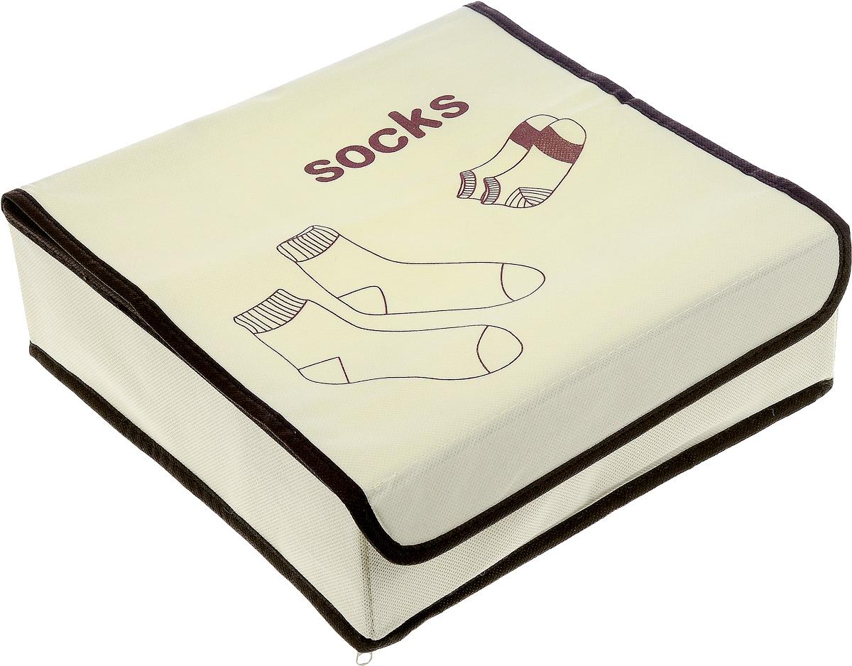 Кофр для хранения Socks, 9 секций, 26,5 х 26,5 х 9 смFS-6142DКофр для хранения Socks изготовлен из высококачественного нетканого полотна. Кофр имеет 9 небольших квадратных секций для хранения носков. Боковые вставки из картона обеспечивают прочность конструкции, на дне расположена молния. Кофр закрывается крышкой на липучку. Модный цвет и качество исполнения сделают такой кофр незаменимым для хранения ваших вещей.