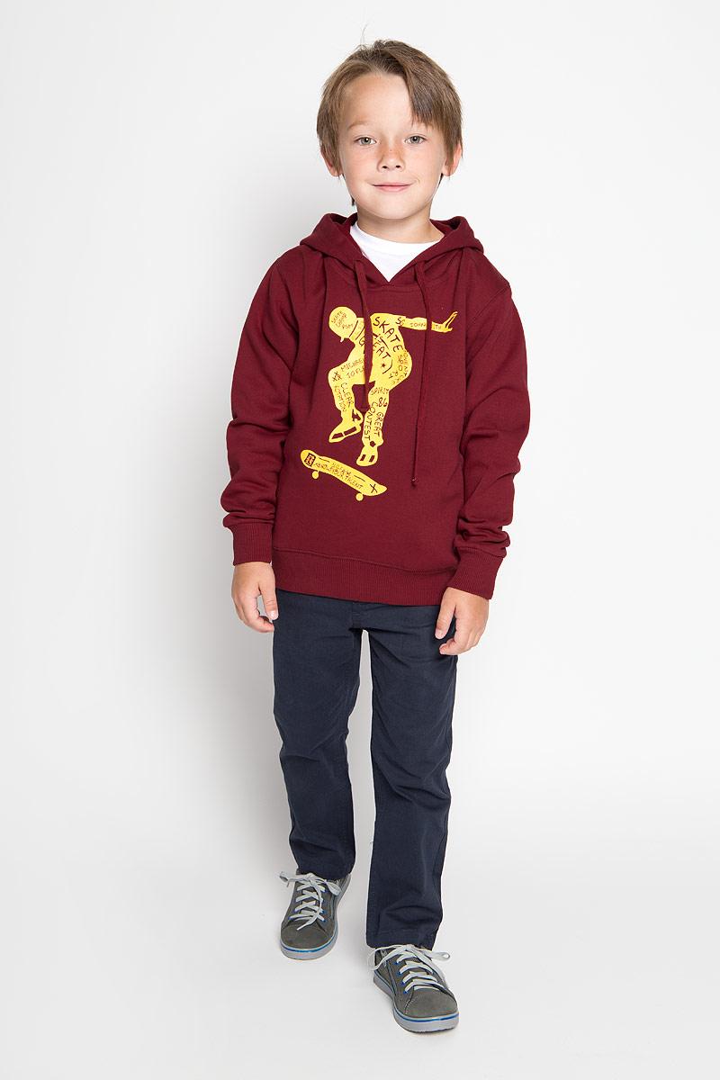 Толстовка для мальчика Karff, цвет: бордовый. 46027-03. Размер 146, 11-13 лет толстовка мужская karff цвет черный серый желтый зеленый 93032 03 размер xl 54