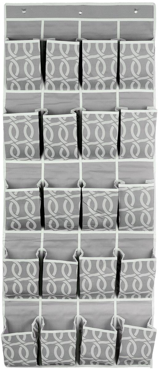 Кофр для хранения Плетение, 20 карманов, 56 х 136 смFS-1015Кофр для хранения Плетение изготовлен из плотного полиэстера, декорированного оригинальным переплетающимся узором. Кофр имеет 20 объемных карманов для хранения различных бытовых вещей. Верхняя часть изделия снабжена вставкой из картона для прочности конструкции. Изделие подвешивается на перекладину или планку с помощью 3 металлических крючков (входят в комплект). Стильный принт, модный цвет и качество исполнения сделают такой кофр незаменимым для хранения ваших вещей.