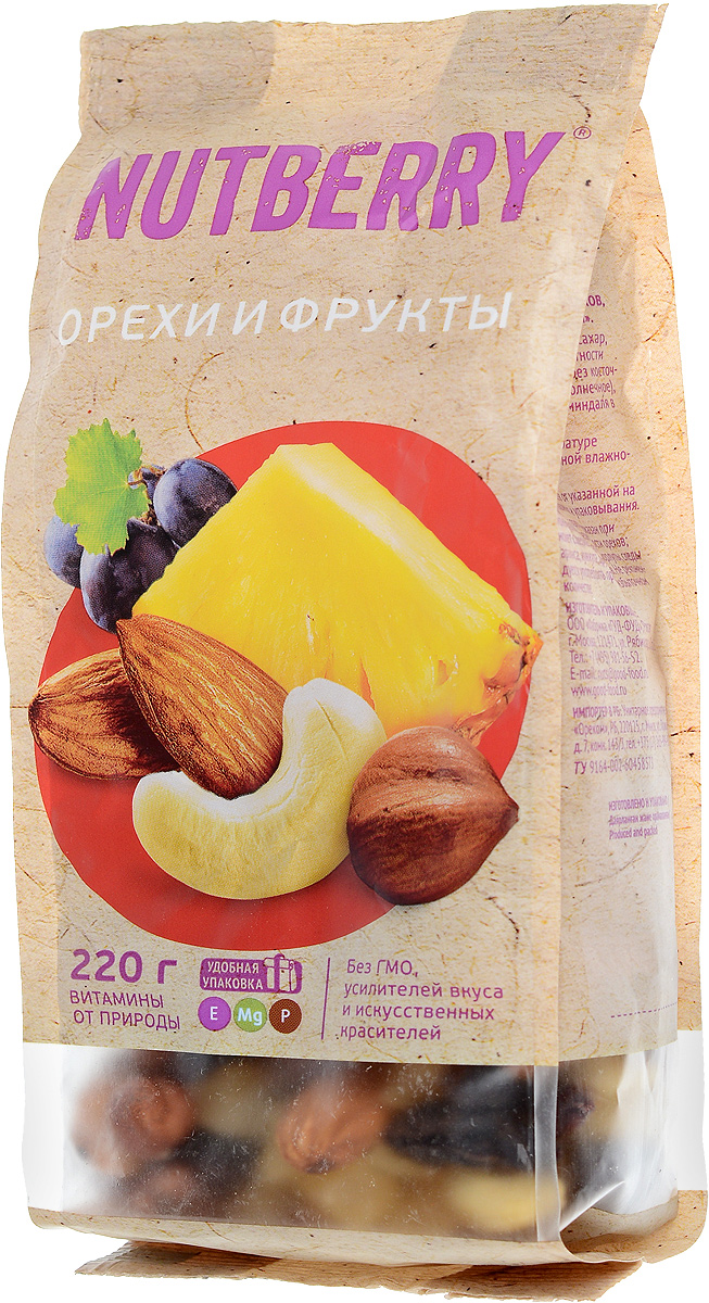 Nutberryсмесьореховифруктов,220г4620000676157Смесь Орехи и фрукты это идеально сбалансированное сочетание только натуральных компонентов. Благородный вкус темного винограда сорта Томпсон Джамбо идеально дополняет вкусовую композицию миндаля, кешью и фундука, а кусочки натурального, сушеного ананаса придают данной смеси неповторимость.
