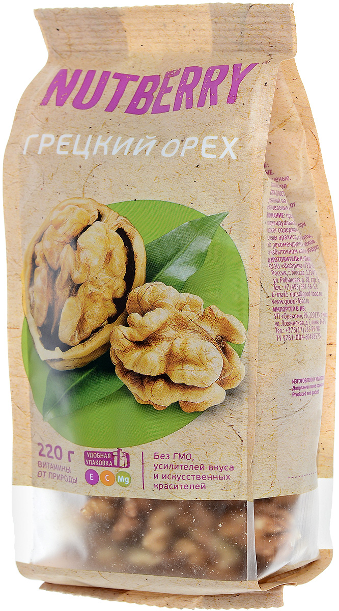 Nutberryгрецкийорех,220г4620000676034Грецкий орех – один из самых популярных орехов в мире. Польза грецкого ореха: помогает при анемиях, болезнях сердца, дерматитах, простуде. Кроме того, грецкий орех оказывает успокаивающее действие и показан при бессоннице и нервных расстройствах. Необходим грецкий орех беременным женщинам, кормящим мамам, а также в период восстановления после перенесенных операций. В целом оказывает благотворное действие на иммунную систему организма.