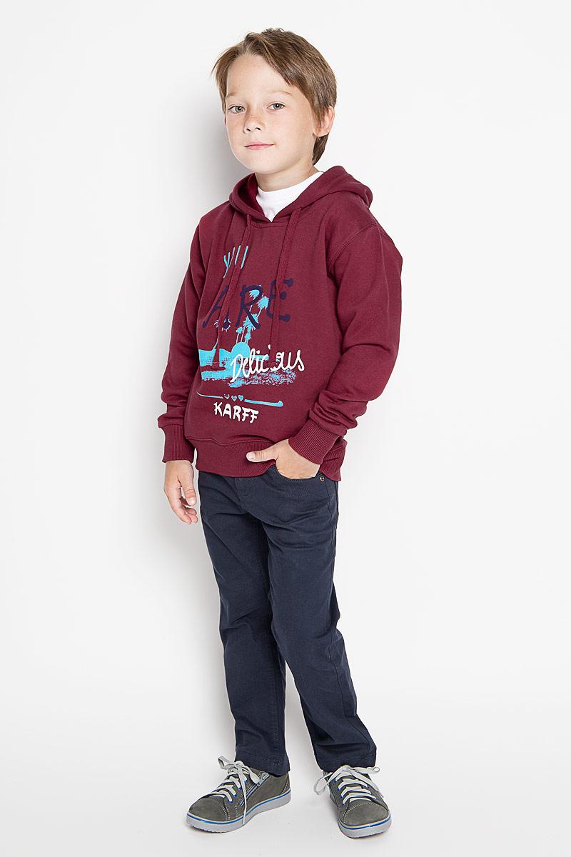 Толстовка для мальчика Karff, цвет: бордовый. 46029-03. Размер 146, 11-13 лет пуловер мужской karff цвет синий бордовый черный 88004 01 размер xxl 56