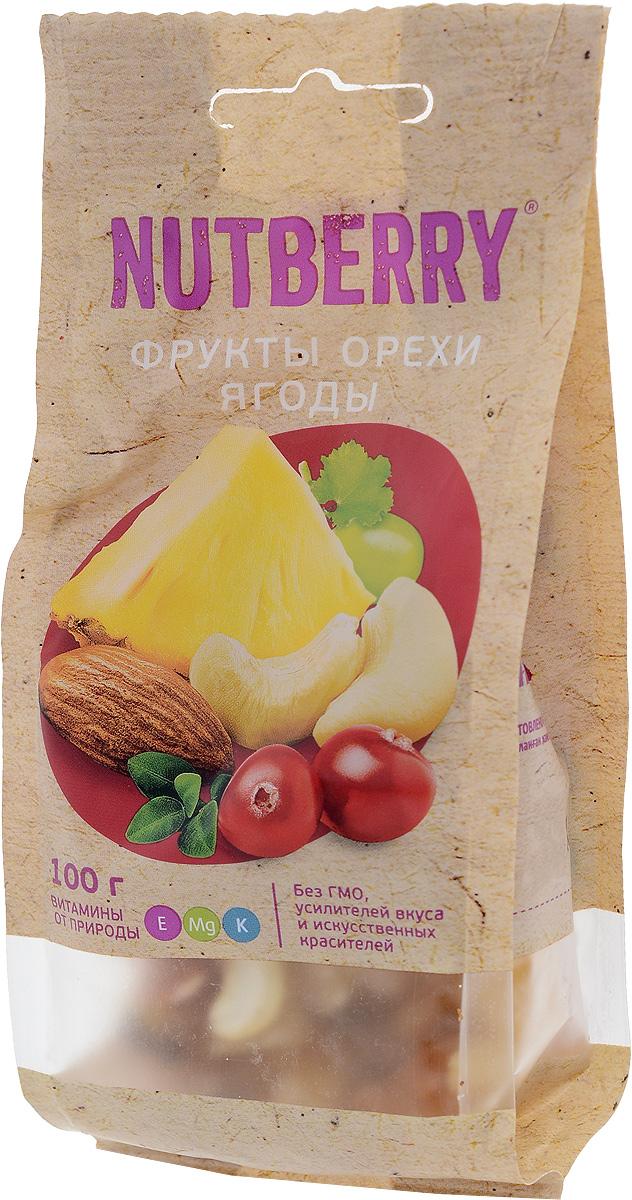 Nutberryсмесьорехов,фруктов иягод,100г ufeelgood cranberry natural натуральная вяленная клюква 100 г