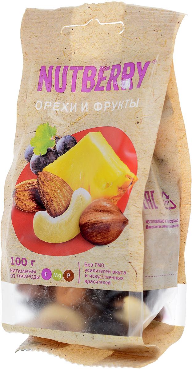 Nutberryсмесьореховифруктов,100г4620000676140Смесь Орехи и фрукты это идеально сбалансированное сочетание только натуральных компонентов. Благородный вкус темного винограда сорта Томпсон Джамбо идеально дополняет вкусовую композицию миндаля, кешью и фундука, а кусочки натурального, сушеного ананаса придают данной смеси неповторимость.
